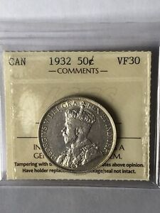CANADA COINS 1932 50 CENTS ICCS VF  30  IN THIS GRADE