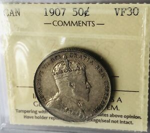 CANADA COINS 1907 50 CENTS ICCS VF 30