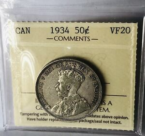 CANADA COINS 1934  50 CENTS ICCS VF 20
