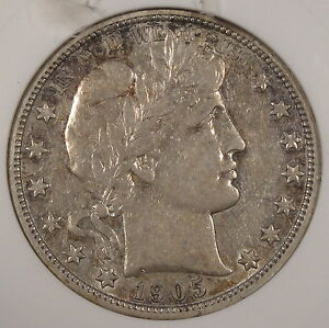 1905 S BARBER HALF DOLLAR 50C ANACS CERTIFIED XF45 OLD SMALL HOLDER DAMAGED HOLD