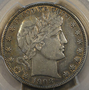 1908 O BARBER HALF DOLLAR 50C PCGS CERTIFIED VF35 XF? TONED WITH PERIPHERAL LUST