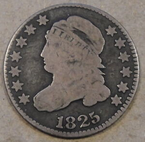 1825 JR 5 CAPPED BUST DIME VG
