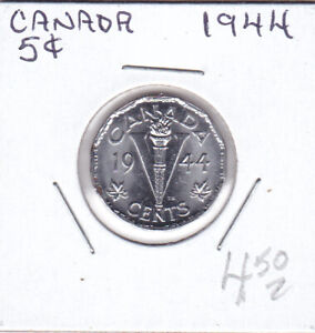 CANADA GEORGE VL 1944 CHROME OVER STEEL 5 CENTS STRONG ORIGINAL LUSTRE.