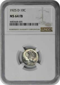Click now to see the BUY IT NOW Price! 1925 D MERCURY SILVER DIME MS64FB NGC