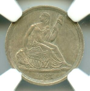 1837 NO STARS LARGE DATE LIBERTY SEATED HALF DIME NGC MS61