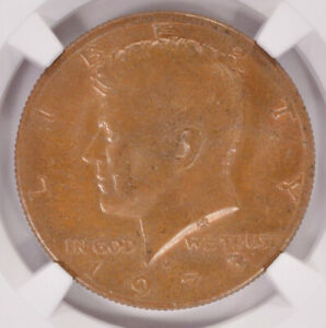 NGC 50C 1973 D KENNEDY HALF OBVERSE MISSING CLAD LAYER MS64 BN