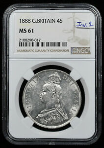 Click now to see the BUY IT NOW Price! 1888 GREAT BRITAIN 4 SHILLINGS  DOUBLE FLORIN  NGC MS61 INVERTED 1 VARIETY