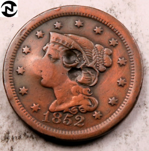 1852 BRAIDED HAIR LARGE CENT // VF  DETAILS  //  LC5995