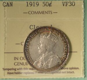 1919 CANADA FIFTY CENTS   ICCS VF30  SERIAL XLS 791
