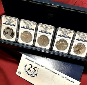 2011 SILVER EAGLE 25TH ANNIVERSARY 5 COIN SET NGC 70 EARLY RELEASE ER