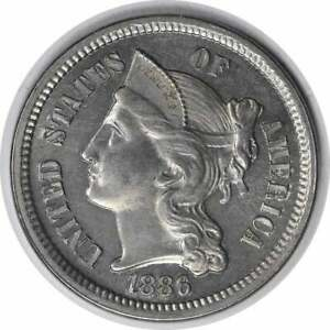 1886 THREE CENT NICKEL CHOICE PROOF UNCERTIFIED
