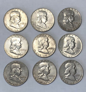 LOT OF 9X 1953 FRANKLIN HALF DOLLARS   LOOKS UNCIRCULATED   90  SILVER   114G