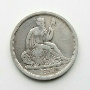 1837 SEATED LIBERTY SILVER DIME 10C NO STARS   BETTER DATE