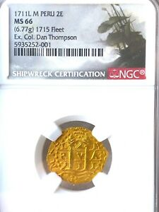 Click now to see the BUY IT NOW Price! PERU 1711 2 ESCUDOS NGC 66 1715 FLEET PIRATE GOLD COINS FISHER & REAL 8 COA'S