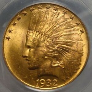 1932 $10 INDIAN HEAD GOLD EAGLE MS63 PCGS 8884.63/14495153 BEAUTIFUL COIN