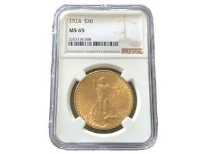1924 SAINT GAUDENS DOUBLE EAGLE GOLD COIN NGC MS65