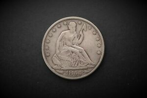 1855 O SEATED LIBERTY HALF DOLLAR HIGHER GRADE BETTER DATE TYPE SILVER 50C