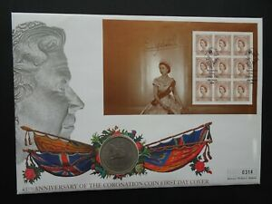 PNC QEII 45TH ANNIVERSARY OF THE CORONATION COIN AND STAMP COVER