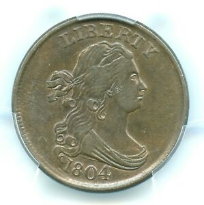 1804 C 10 CROSSLET 4 STEMS DRAPED BUST HALF CENT PCGS AU58 CAC APPROVED