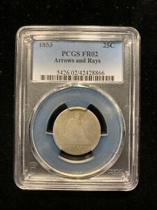 1853 ARROWS AND RAYS SEATED LIBERTY QUARTER PCGS FR02 LOWBALL TYPE SET
