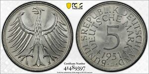 1951 D GERMANY 5 MARK COIN PCGS MS65 J.387