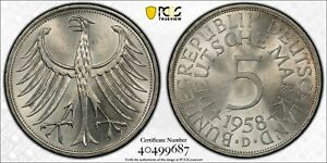 1958 D GERMANY 5 MARK COIN PCGS MS64 J.387