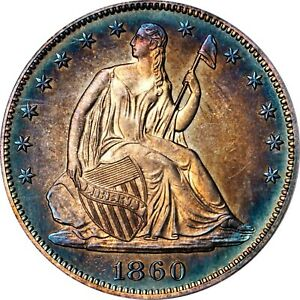 Click now to see the BUY IT NOW Price! 1860 LIBERTY SEATED HALF DOLLAR PROOF PCGS PR67  CAM TOP POP 1/0 STUNNING