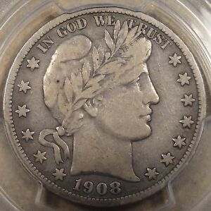 1908 S BARBER HALF DOLLAR 50C PCGS CERTIFIED F15 PQ  BETTER THAN MANY VF'S