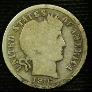 BARBER SILVER DIME. 1916 S. CIRCULATED.  LOT  003