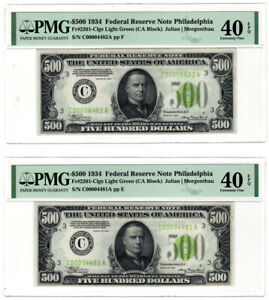 $500 1934 FEDERAL RESERVE NOTES  2  FR.2201 C PMG  XF40 EPQ 2 CONCEC'S LGS LOW
