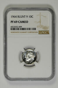 1964 BLUNT 9 10C PROOF SILVER ROOSEVELT DIME NGC PF 69 CAMEO