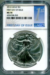 NGC MS70 2016 SILVER EAGLE   FIRST DAY OF ISSUE LABEL