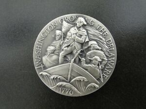 1776 WASHINGTON CROSSING THE DELAWARE LONGINES STERLING SILVER ROUND 36.01 GRAMS