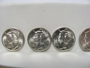 MERCURY DIMES 1941 TO 1945 10 COINS UNCIRCULATED
