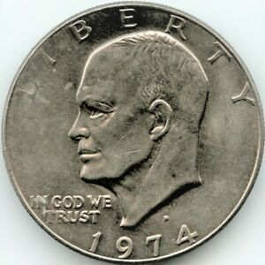 1974 D EISENHOWER SILVER DOLLAR COIN  UNGRATED CIRCULATED