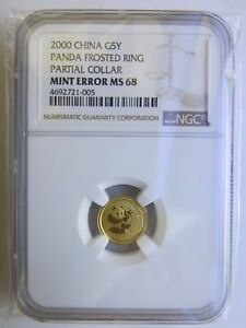 Click now to see the BUY IT NOW Price! ULTRA  MINT ERROR PARTIAL COLLAR 2000 1/20 OZ CHINA GOLD PANDA NGC MS68