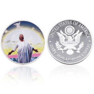 LUXURY SOUVENIR GIFTS JESUS COMMEMORATIVE SILVER COIN GOD BLESS YOU LUCKY COIN