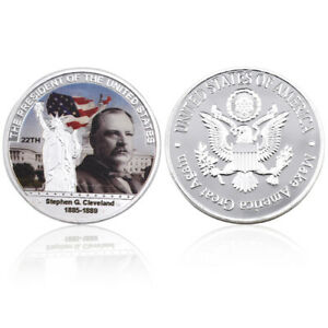 STEPHEN GROVER CLEVELAND US 22TH PRESIDENT COIN COMMEMORATIVE METAL CRAFTS