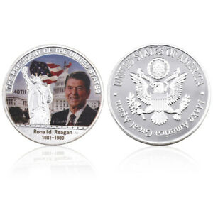 REAGAN AMERICAN 40TH PRESIDENT COIN SILVER PLATED COMMEMORATIVE COIN FOR GIFT