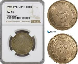 Click now to see the BUY IT NOW Price! AG766 PALESTINE 100 MILS 1931 LONDON SILVER NGC AU58