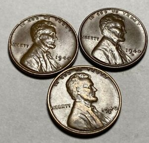 1940 P D S LINCOLN WHEAT PENNY SET LY FINE  EF  CONDITION   A 1943 STEEL