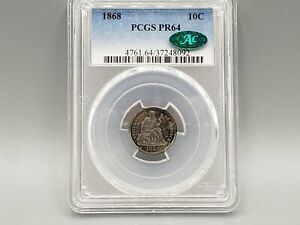 1868 SEATED DIME PCGS PR64 CAC BEAUTIFUL COLORS OBVERSE AND REVERSE