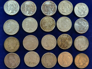 20  PEACE SILVER DOLLARS 1925 1926 1927 1928 S 1934 1935 BETTER DATE