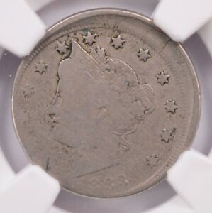 NGC 5C 1883 W/CENTS LIBERTY NICKEL 10  OFF CENTER VG10