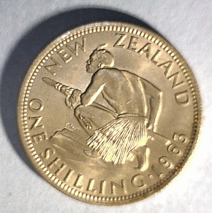 NEW ZEALAND 1 COIN  1 SHILLING 1963 ALMOST UNCIRCULATED COPPER NICKEL
