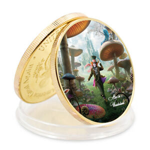 ALICE GOLD PLATED COMMEMORATIVE COIN  ART CRAFT HOME DECOR COLLECTION