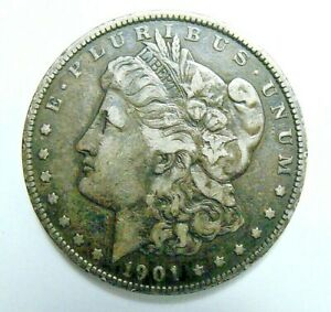 1901  BETTER DATE MORGAN DOLLAR NICELY TONED NEVER CLEANED