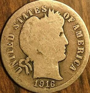 1916 USA SILVER 10 CENTS BARBER DIME COIN