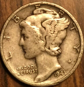 1941 UNITED STATES 10 CENTS MERCURY DIME COIN