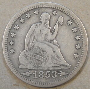 1853 ARROWS   RAYS SEATED LIBERTY QUARTER VF AS PICTURED